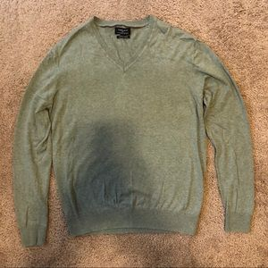Zara Green V Neck Cashmere Blend Sweater Size L